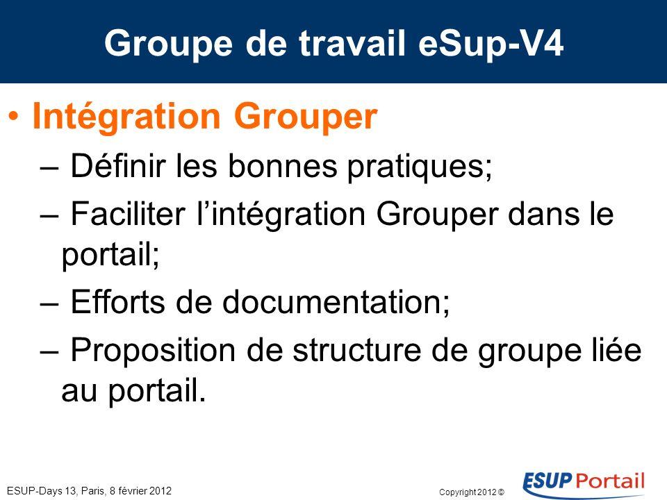 Copyright 2012 © Groupe de travail eSup-V4 ESUP-Days 13, Paris, 8 février 2012 Intégration Grouper – Définir les bonnes pratiques; – Faciliter lintégr