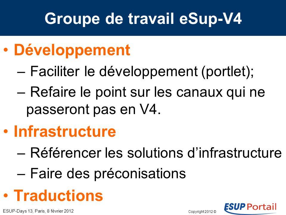 Copyright 2012 © Groupe de travail eSup-V4 ESUP-Days 13, Paris, 8 février 2012 Développement – Faciliter le développement (portlet); – Refaire le poin