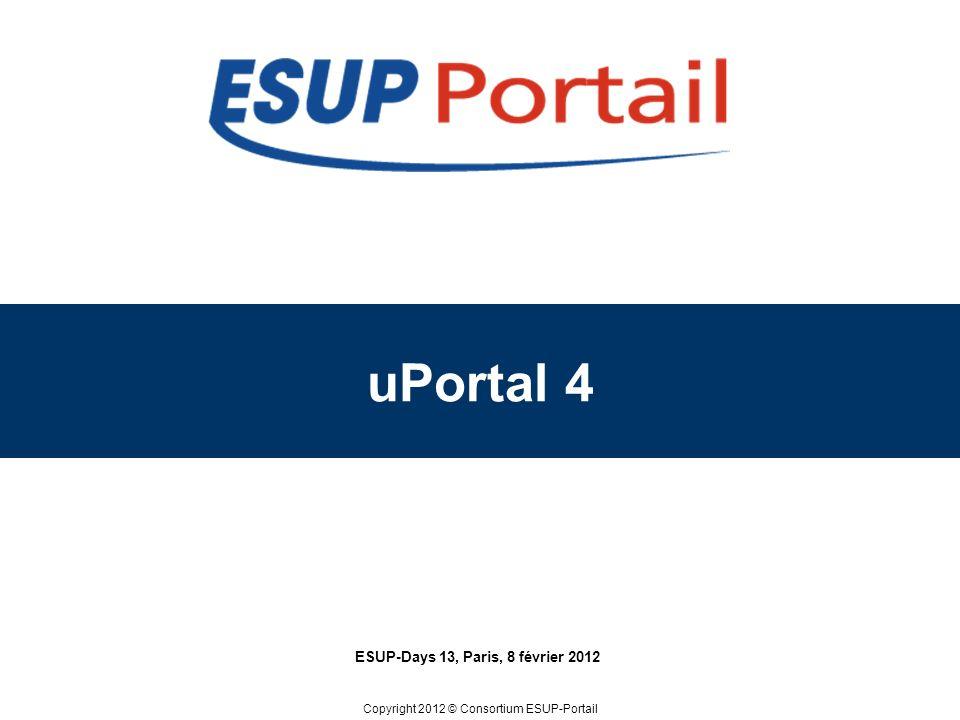 Copyright 2012 © uPortal 4 ESUP-Days 13, Paris, 8 février 2012 Suppression des IChannel Schéma dURL Portlet 2.0 Recherches transversales Mécanisme de notification