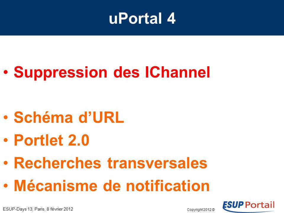 Copyright 2012 © Groupe de travail eSup-V4 ESUP-Days 13, Paris, 8 février 2012 Développement – Faciliter le développement (portlet); – Refaire le point sur les canaux qui ne passeront pas en V4.
