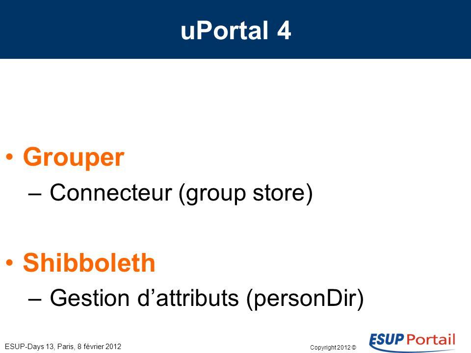 Copyright 2012 © Groupe de travail eSup-V4 ESUP-Days 13, Paris, 8 février 2012 Packaging eSup – un package de source (production) – une quickstart