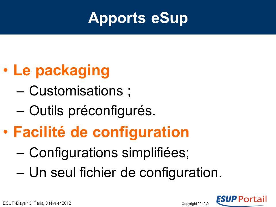 Copyright 2012 © Apports eSup ESUP-Days 13, Paris, 8 février 2012 Le packaging – Customisations ; – Outils préconfigurés. Facilité de configuration –