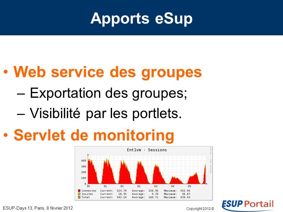 Copyright 2012 © Apports eSup ESUP-Days 13, Paris, 8 février 2012 Statistique et rendu – Alimentation; – Rendu.