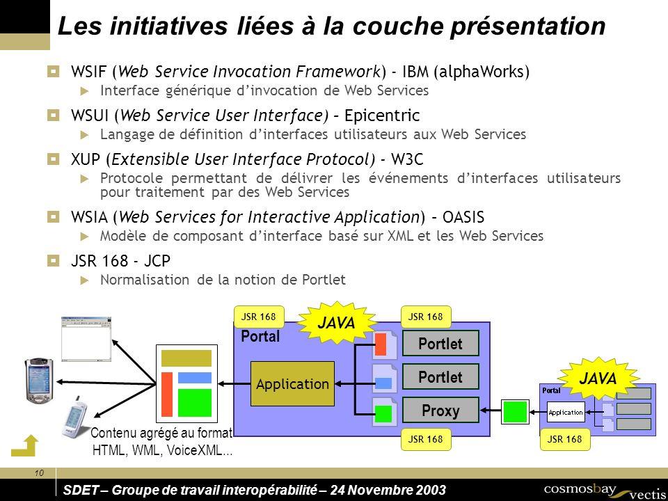 10 SDET – Groupe de travail interopérabilité – 24 Novembre 2003 Les initiatives liées à la couche présentation WSIF (Web Service Invocation Framework)