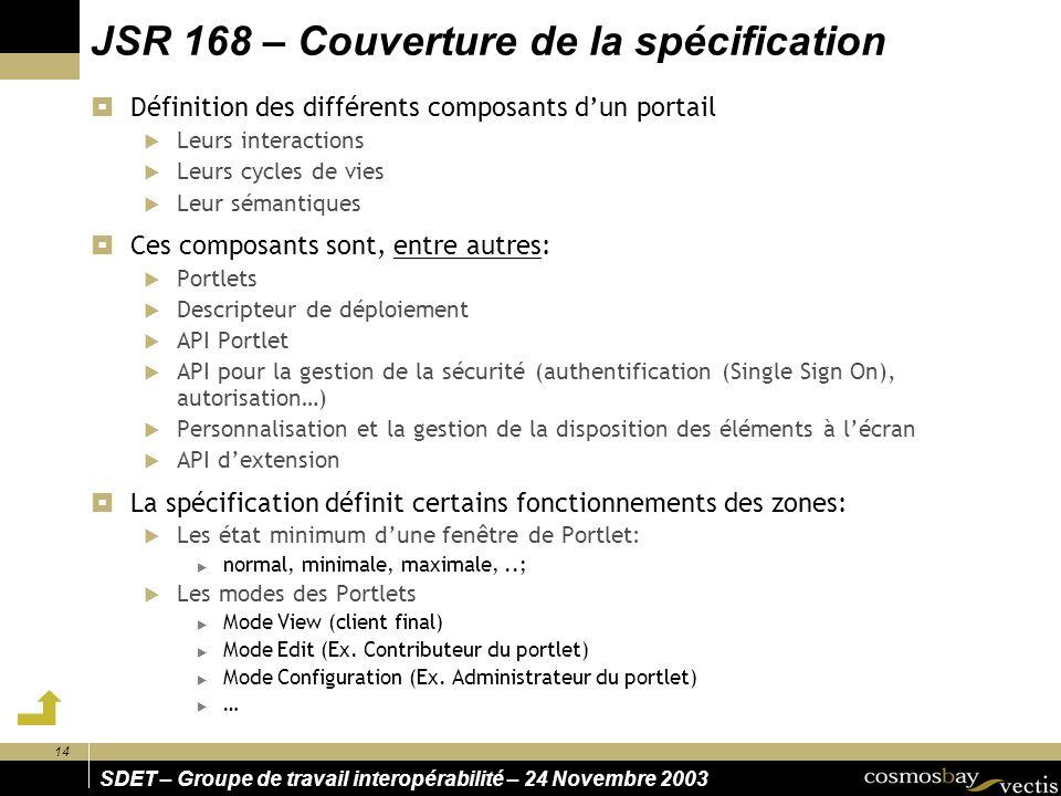 14 SDET – Groupe de travail interopérabilité – 24 Novembre 2003 JSR 168 – Couverture de la spécification Définition des différents composants dun port