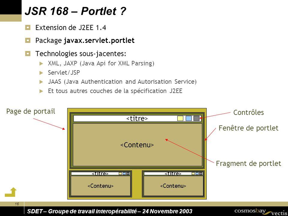16 SDET – Groupe de travail interopérabilité – 24 Novembre 2003 JSR 168 – Portlet ? Contrôles Fragment de portlet Fenêtre de portlet Page de portail E