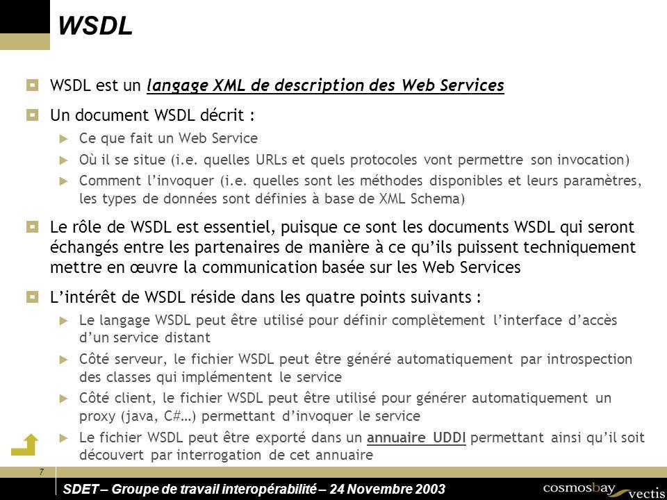 8 SDET – Groupe de travail interopérabilité – 24 Novembre 2003 UDDI UDDI (Universal Description, Discovery, and Integration) distingue trois types de registres : Pages Vertes Pages Jaunes Informations sur les contacts, adresses, téléphones, etc.
