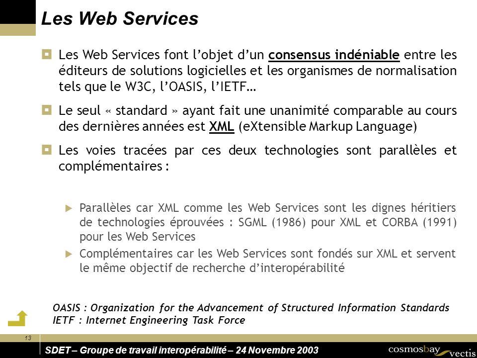 13 SDET – Groupe de travail interopérabilité – 24 Novembre 2003 Les Web Services Les Web Services font lobjet dun consensus indéniable entre les éditeurs de solutions logicielles et les organismes de normalisation tels que le W3C, lOASIS, lIETF… Le seul « standard » ayant fait une unanimité comparable au cours des dernières années est XML (eXtensible Markup Language) Les voies tracées par ces deux technologies sont parallèles et complémentaires : Parallèles car XML comme les Web Services sont les dignes héritiers de technologies éprouvées : SGML (1986) pour XML et CORBA (1991) pour les Web Services Complémentaires car les Web Services sont fondés sur XML et servent le même objectif de recherche dinteropérabilité OASIS : Organization for the Advancement of Structured Information Standards IETF : Internet Engineering Task Force