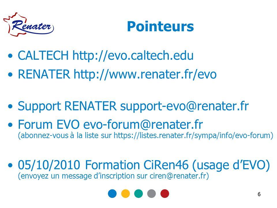 Pointeurs CALTECH http://evo.caltech.edu RENATER http://www.renater.fr/evo Support RENATER support-evo@renater.fr Forum EVO evo-forum@renater.fr (abon