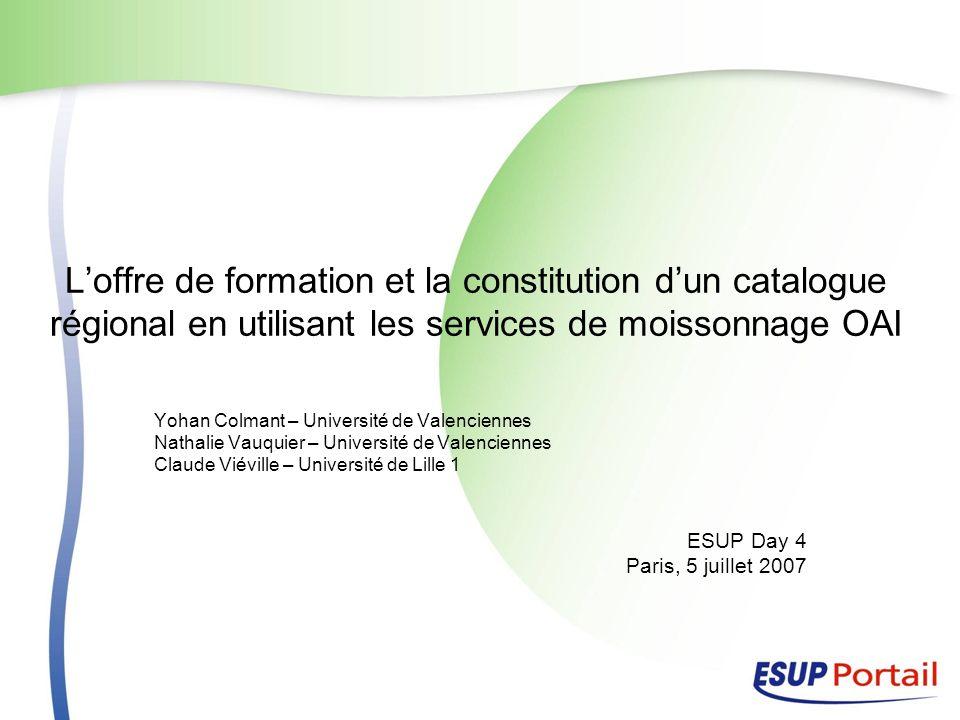 Loffre de formation et la constitution dun catalogue régional en utilisant les services de moissonnage OAI Yohan Colmant – Université de Valenciennes