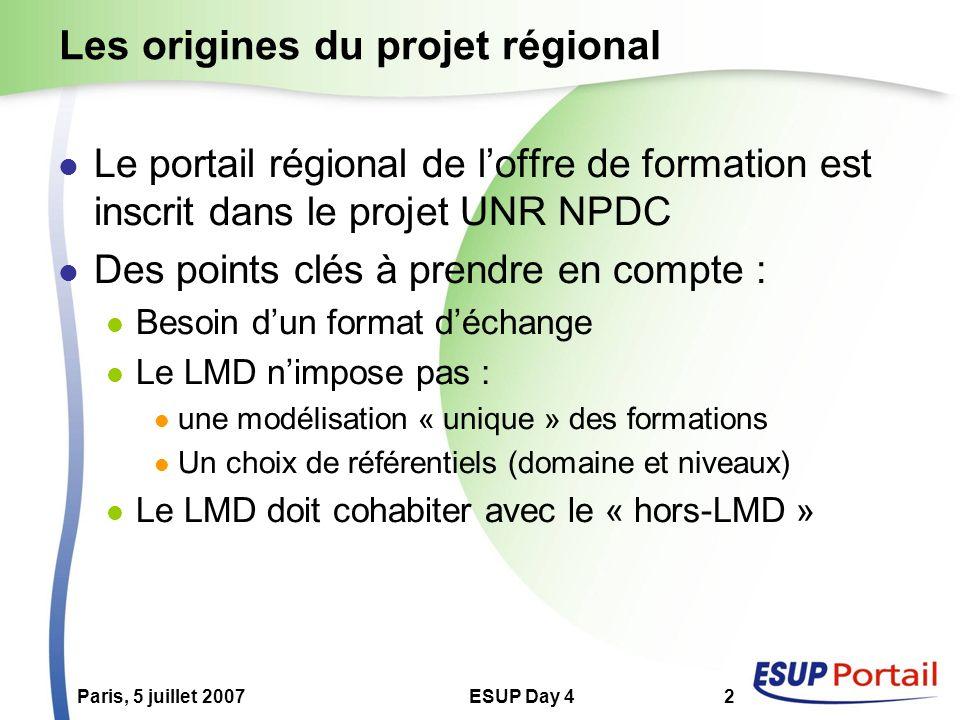 ESUP Day 42 Les origines du projet régional Le portail régional de loffre de formation est inscrit dans le projet UNR NPDC Des points clés à prendre en compte : Besoin dun format déchange Le LMD nimpose pas : une modélisation « unique » des formations Un choix de référentiels (domaine et niveaux) Le LMD doit cohabiter avec le « hors-LMD »