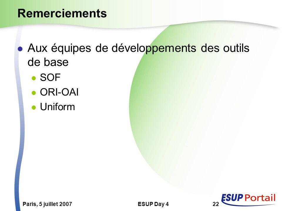 Paris, 5 juillet 2007ESUP Day 422 Remerciements Aux équipes de développements des outils de base SOF ORI-OAI Uniform