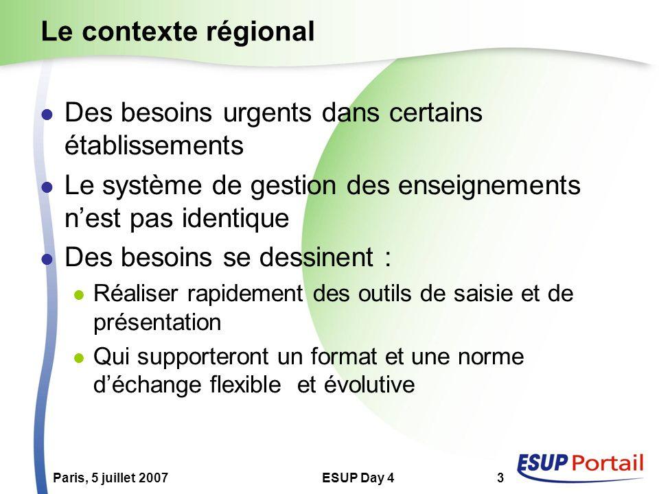 Paris, 5 juillet 2007ESUP Day 43 Le contexte régional Des besoins urgents dans certains établissements Le système de gestion des enseignements nest pa