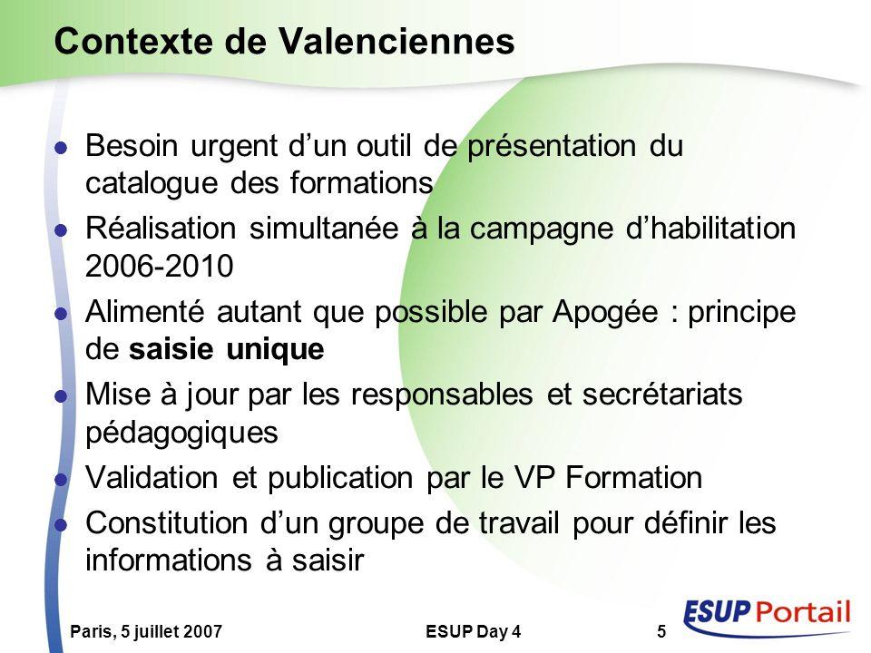 Paris, 5 juillet 2007ESUP Day 45 Contexte de Valenciennes Besoin urgent dun outil de présentation du catalogue des formations Réalisation simultanée à