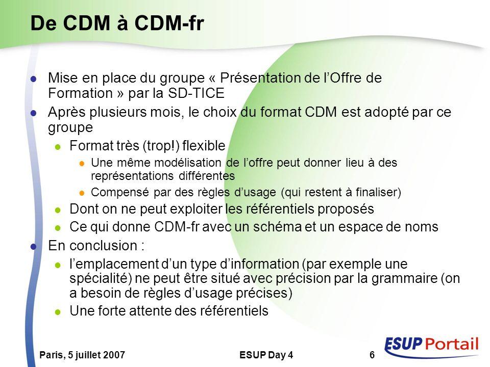 Paris, 5 juillet 2007ESUP Day 46 De CDM à CDM-fr Mise en place du groupe « Présentation de lOffre de Formation » par la SD-TICE Après plusieurs mois, le choix du format CDM est adopté par ce groupe Format très (trop!) flexible Une même modélisation de loffre peut donner lieu à des représentations différentes Compensé par des règles dusage (qui restent à finaliser) Dont on ne peut exploiter les référentiels proposés Ce qui donne CDM-fr avec un schéma et un espace de noms En conclusion : lemplacement dun type dinformation (par exemple une spécialité) ne peut être situé avec précision par la grammaire (on a besoin de règles dusage précises) Une forte attente des référentiels