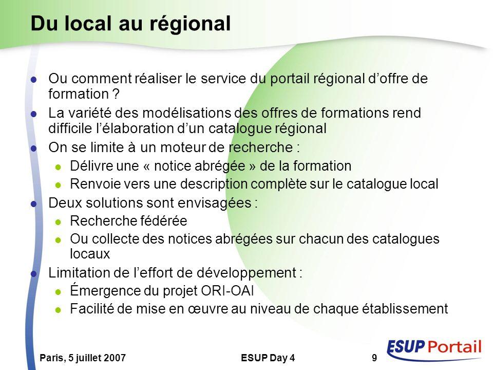 Paris, 5 juillet 2007ESUP Day 49 Du local au régional Ou comment réaliser le service du portail régional doffre de formation ? La variété des modélisa