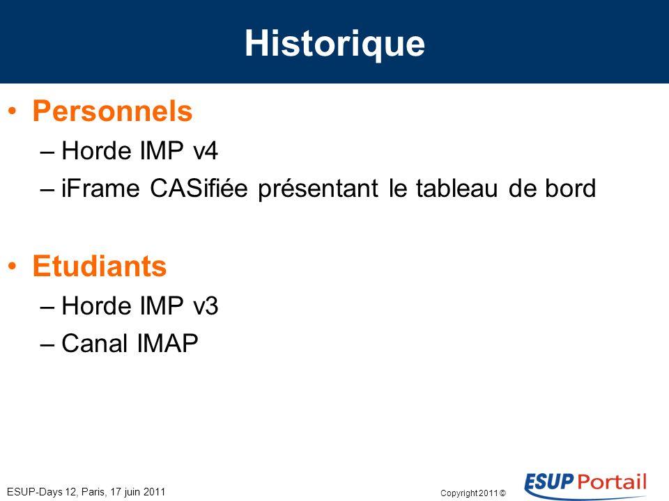 Copyright 2011 © Historique ESUP-Days 12, Paris, 17 juin 2011 Personnels –Horde IMP v4 –iFrame CASifiée présentant le tableau de bord Etudiants –Horde IMP v3 –Canal IMAP