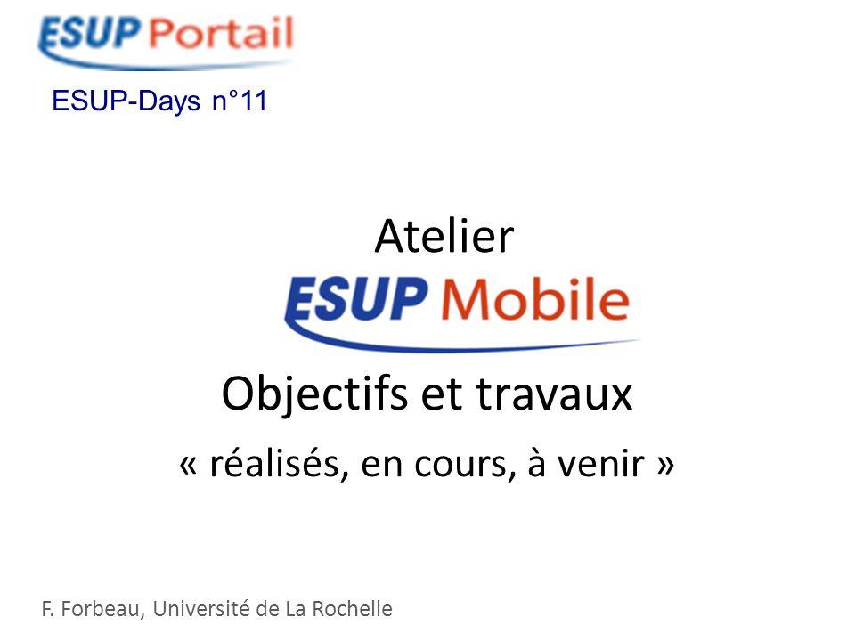 Objectifs et travaux « réalisés, en cours, à venir » F. Forbeau, Université de La Rochelle ESUP-Days n°11 Atelier