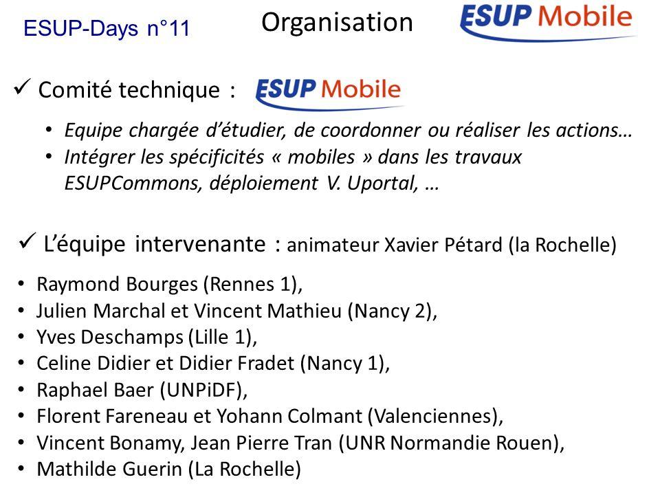 Organisation Comité technique : Equipe chargée détudier, de coordonner ou réaliser les actions… Intégrer les spécificités « mobiles » dans les travaux