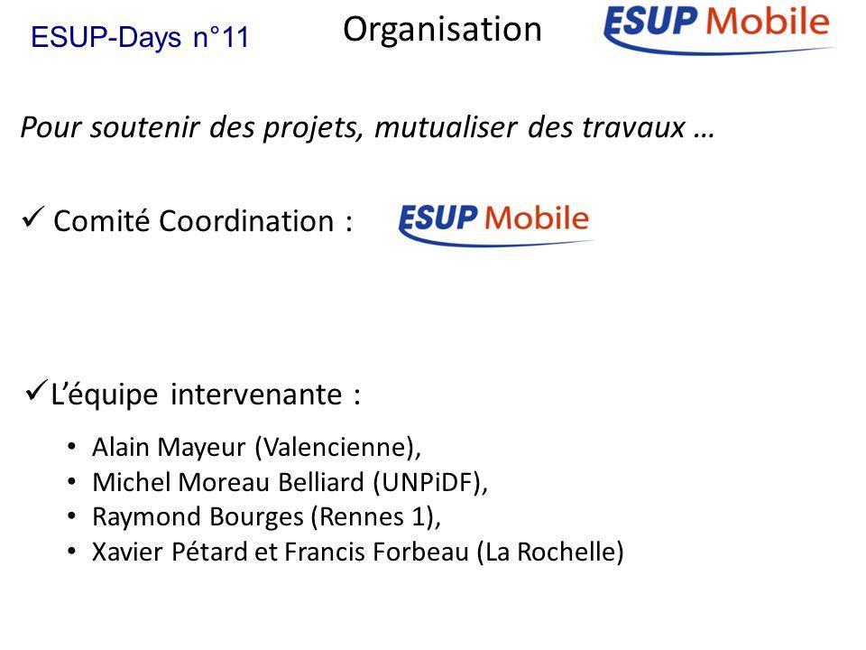 Pour soutenir des projets, mutualiser des travaux … Organisation Comité Coordination : ESUP-Days n°11 Léquipe intervenante : Alain Mayeur (Valencienne