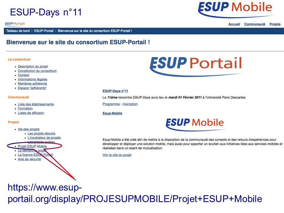 ESUP-Days n°11 https://www.esup- portail.org/display/PROJESUPMOBILE/Projet+ESUP+Mobile