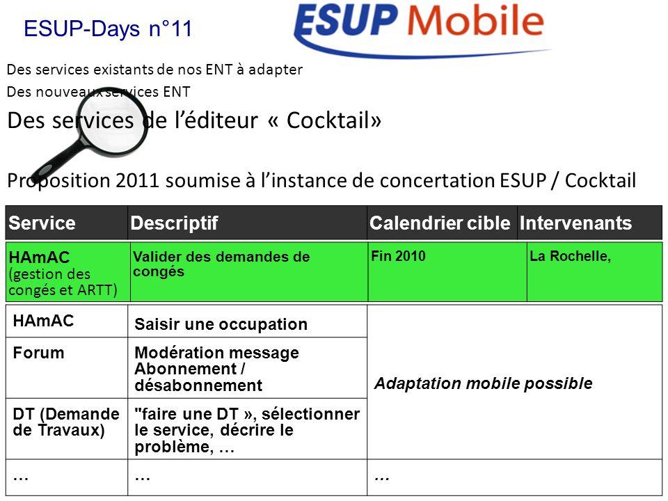 Des services existants de nos ENT à adapter ESUP-Days n°11 Des nouveaux services ENT Des services de léditeur « Cocktail» Proposition 2011 soumise à l