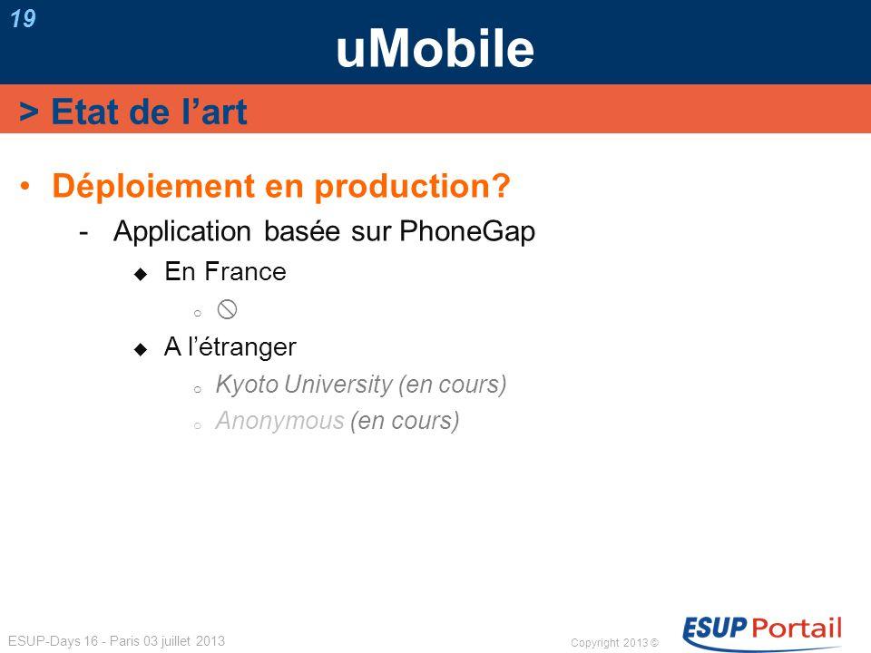 Copyright 2013 © ESUP-Days 16 - Paris 03 juillet 2013 uMobile 19 Déploiement en production? Application basée sur PhoneGap En France o A létranger o K