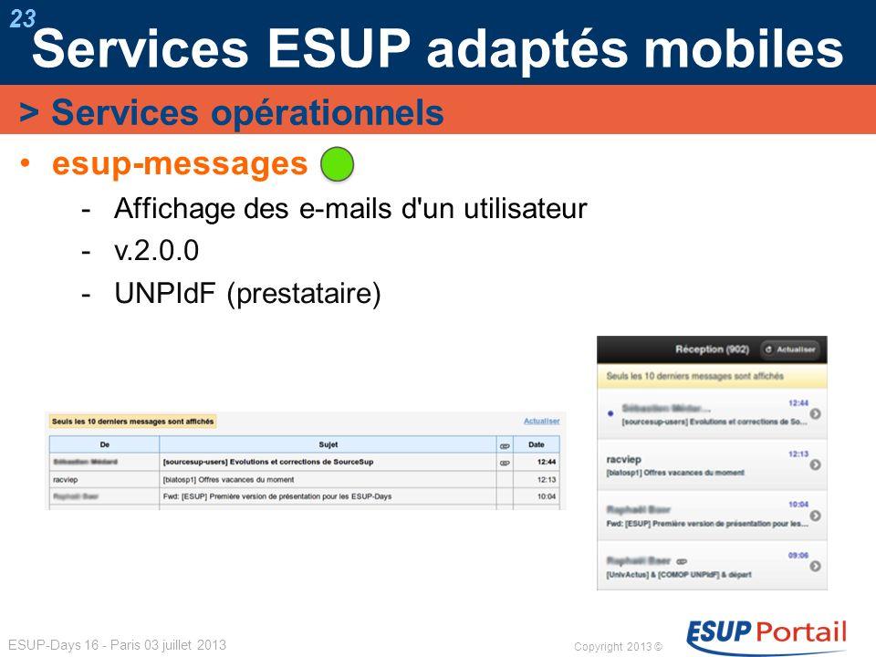 Copyright 2013 © ESUP-Days 16 - Paris 03 juillet 2013 Services ESUP adaptés mobiles 23 esup-messages Affichage des e-mails d'un utilisateur v.2.0.0 UN