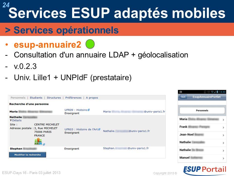 Copyright 2013 © ESUP-Days 16 - Paris 03 juillet 2013 Services ESUP adaptés mobiles 24 esup-annuaire2 Consultation d'un annuaire LDAP + géolocalisatio