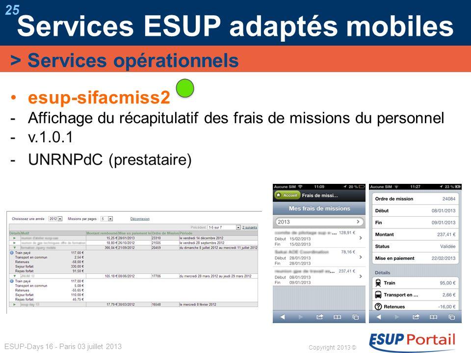 Copyright 2013 © ESUP-Days 16 - Paris 03 juillet 2013 Services ESUP adaptés mobiles 25 esup-sifacmiss2 Affichage du récapitulatif des frais de mission
