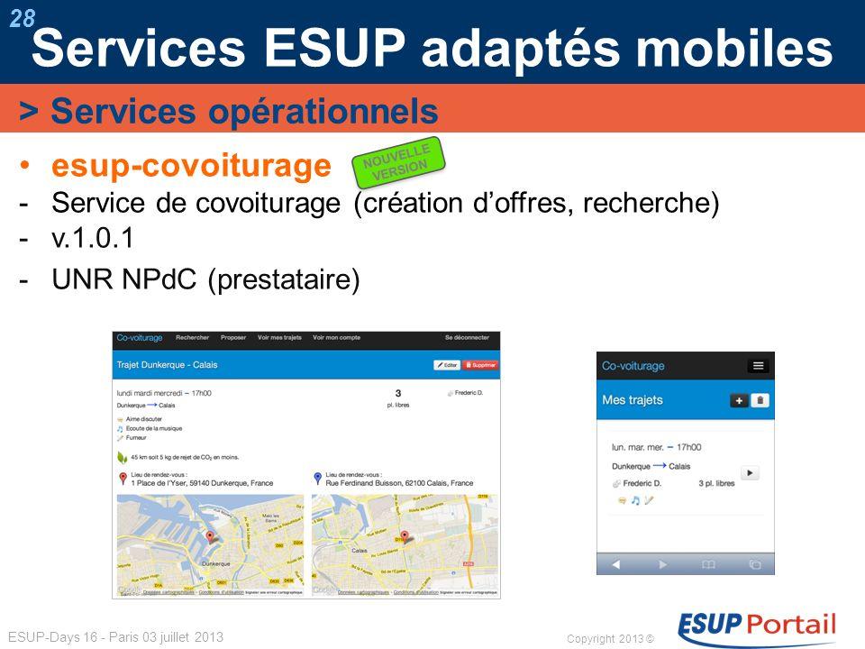 Copyright 2013 © ESUP-Days 16 - Paris 03 juillet 2013 Services ESUP adaptés mobiles 28 esup-covoiturage Service de covoiturage (création doffres, rech