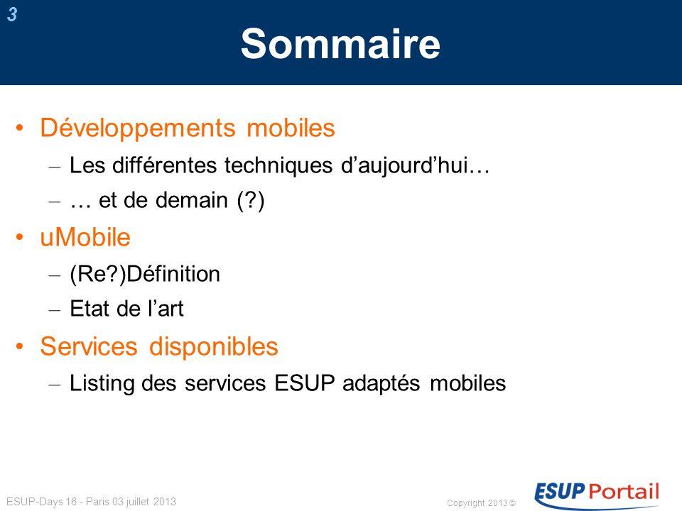 Copyright 2013 © ESUP-Days 16 - Paris 03 juillet 2013 Services ESUP adaptés mobiles 24 esup-annuaire2 Consultation d un annuaire LDAP + géolocalisation v.0.2.3 Univ.