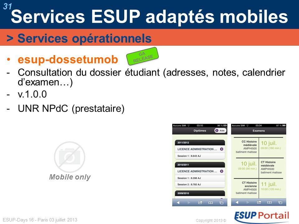 Copyright 2013 © ESUP-Days 16 - Paris 03 juillet 2013 Services ESUP adaptés mobiles 31 esup-dossetumob Consultation du dossier étudiant (adresses, not