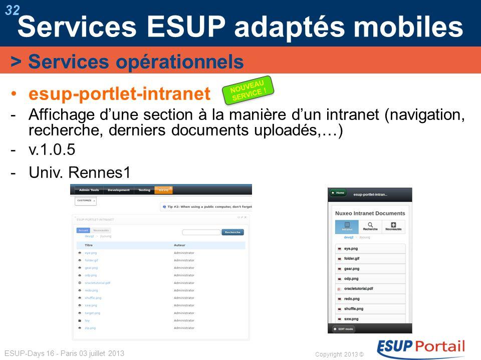 Copyright 2013 © ESUP-Days 16 - Paris 03 juillet 2013 Services ESUP adaptés mobiles 32 esup-portlet-intranet Affichage dune section à la manière dun i