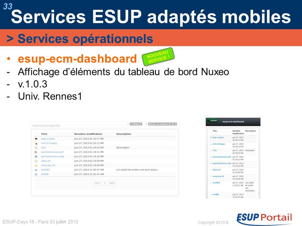 Copyright 2013 © ESUP-Days 16 - Paris 03 juillet 2013 Services ESUP adaptés mobiles 33 esup-ecm-dashboard Affichage déléments du tableau de bord Nuxeo