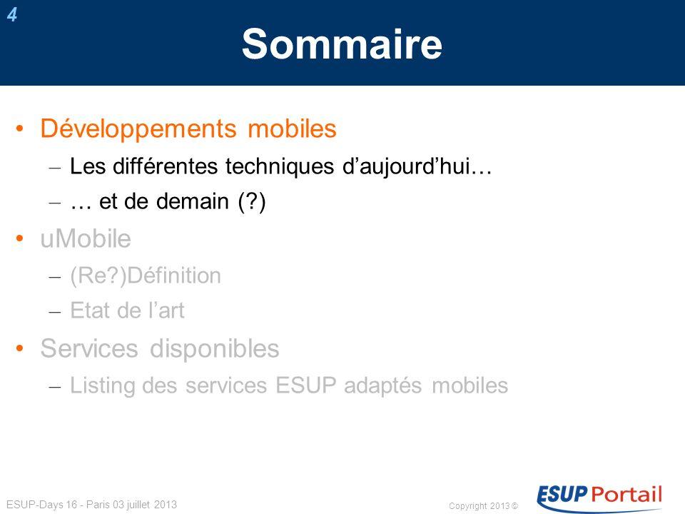 Copyright 2013 © ESUP-Days 16 - Paris 03 juillet 2013 Services ESUP adaptés mobiles 25 esup-sifacmiss2 Affichage du récapitulatif des frais de missions du personnel v.1.0.1 UNRNPdC (prestataire) > Services opérationnels