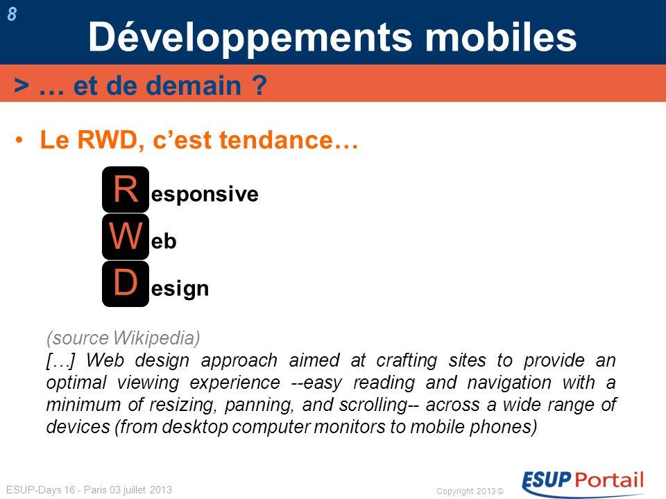 Copyright 2013 © ESUP-Days 16 - Paris 03 juillet 2013 Le RWD, cest tendance… Développements mobiles 8 > … et de demain ? R D W esponsive eb esign (sou