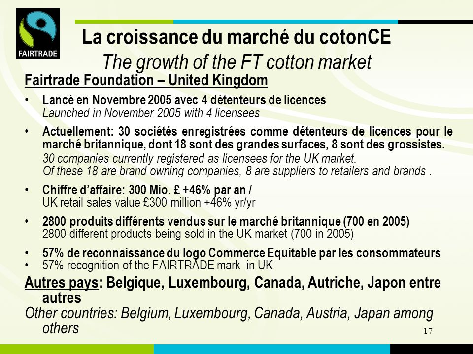 FLO International 17 La croissance du marché du cotonCE The growth of the FT cotton market Fairtrade Foundation – United Kingdom Lancé en Novembre 2005 avec 4 détenteurs de licences Launched in November 2005 with 4 licensees Actuellement: 30 sociétés enregistrées comme détenteurs de licences pour le marché britannique, dont 18 sont des grandes surfaces, 8 sont des grossistes.