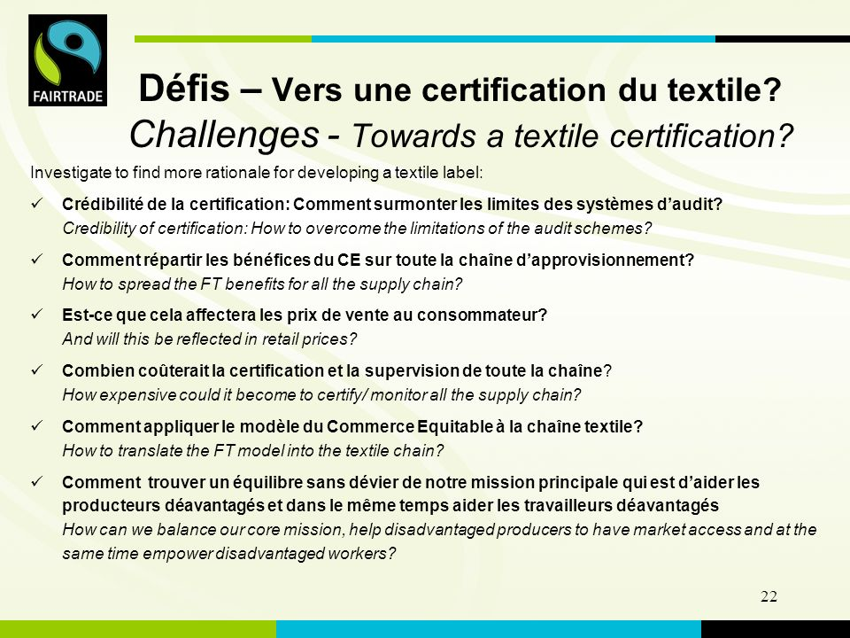 FLO International 22 Défis – Vers une certification du textile.