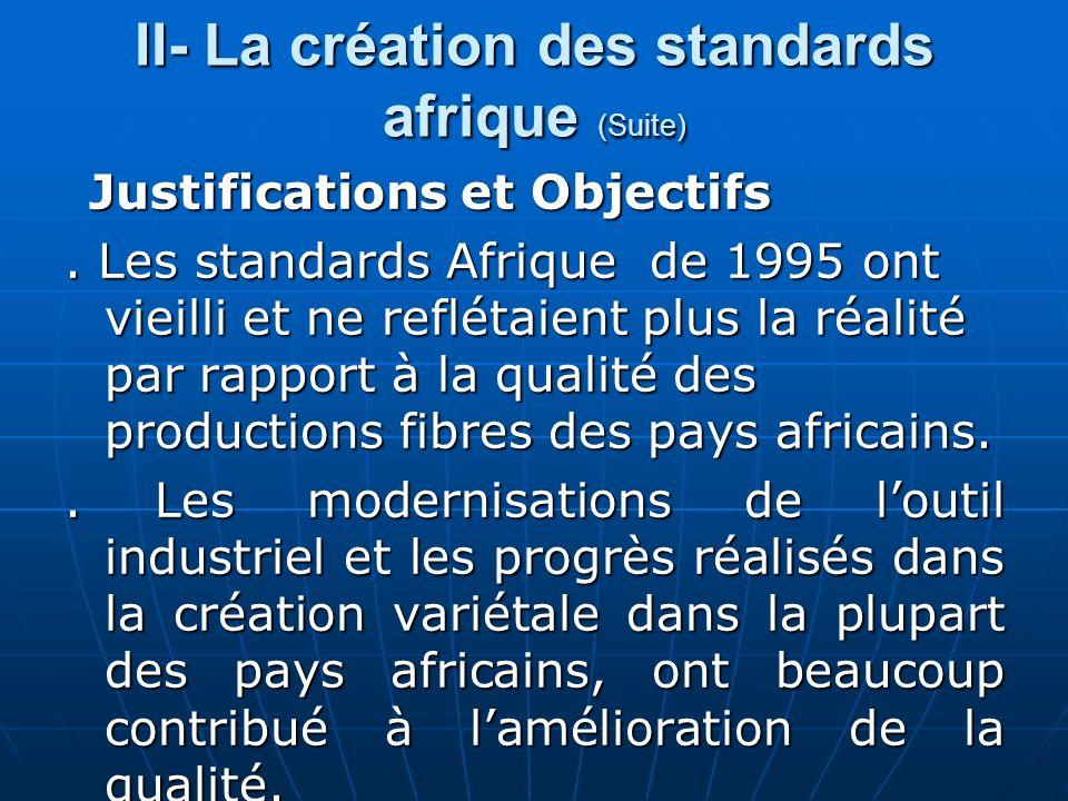 II- La création des standards afrique (Suite) Justifications et Objectifs Justifications et Objectifs.