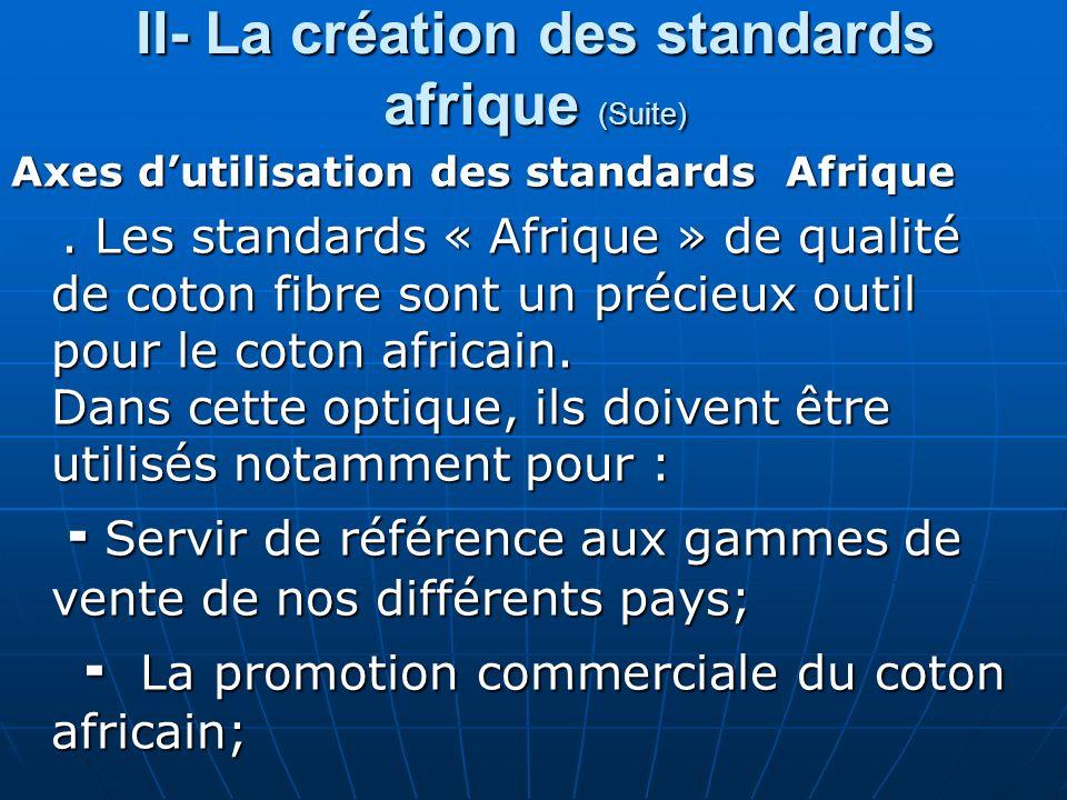 II- La création des standards afrique (Suite) Axes dutilisation des standards Afrique Axes dutilisation des standards Afrique.