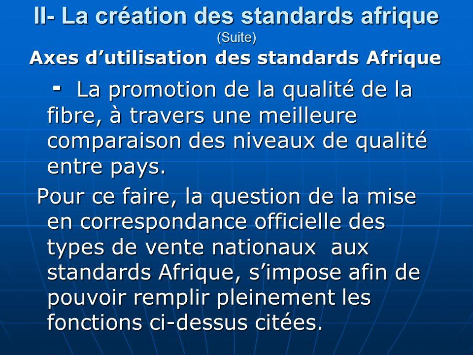 II- La création des standards afrique (Suite) Axes dutilisation des standards Afrique La promotion de la qualité de la fibre, à travers une meilleure comparaison des niveaux de qualité entre pays.