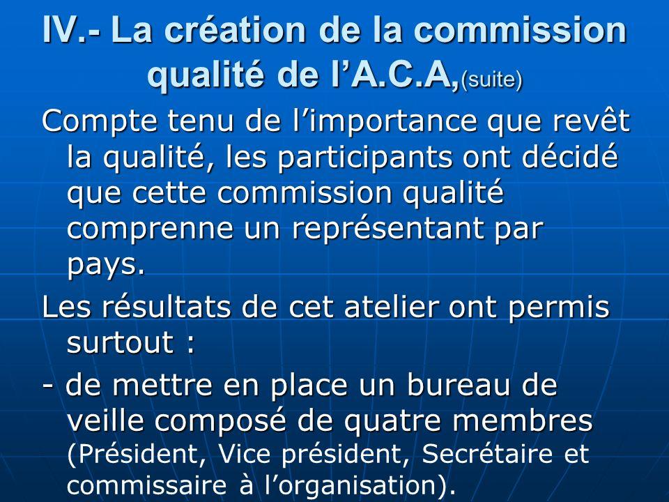 IV.- La création de la commission qualité de lA.C.A, (suite) Compte tenu de limportance que revêt la qualité, les participants ont décidé que cette commission qualité comprenne un représentant par pays.