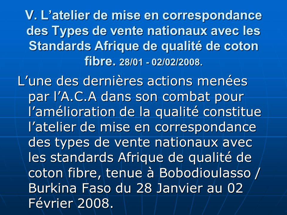 V. Latelier de mise en correspondance des Types de vente nationaux avec les Standards Afrique de qualité de coton fibre. 28/01 - 02/02/2008. Lune des