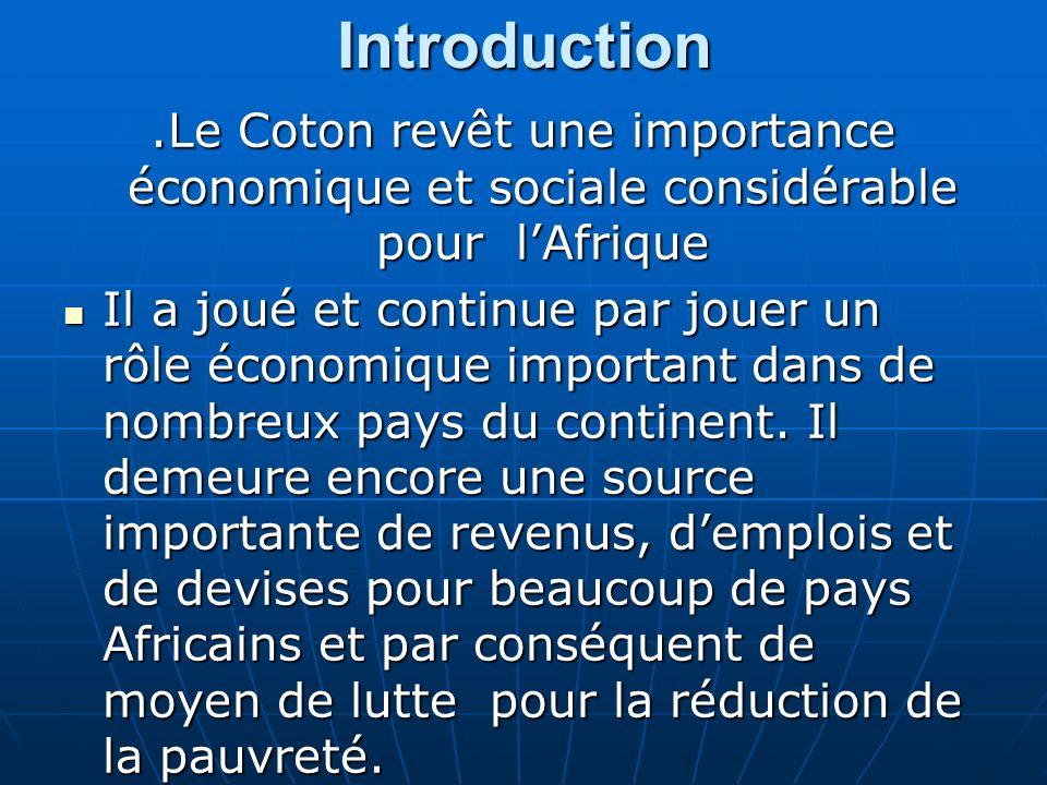 Introduction.Le Coton revêt une importance économique et sociale considérable pour lAfrique Il a joué et continue par jouer un rôle économique important dans de nombreux pays du continent.