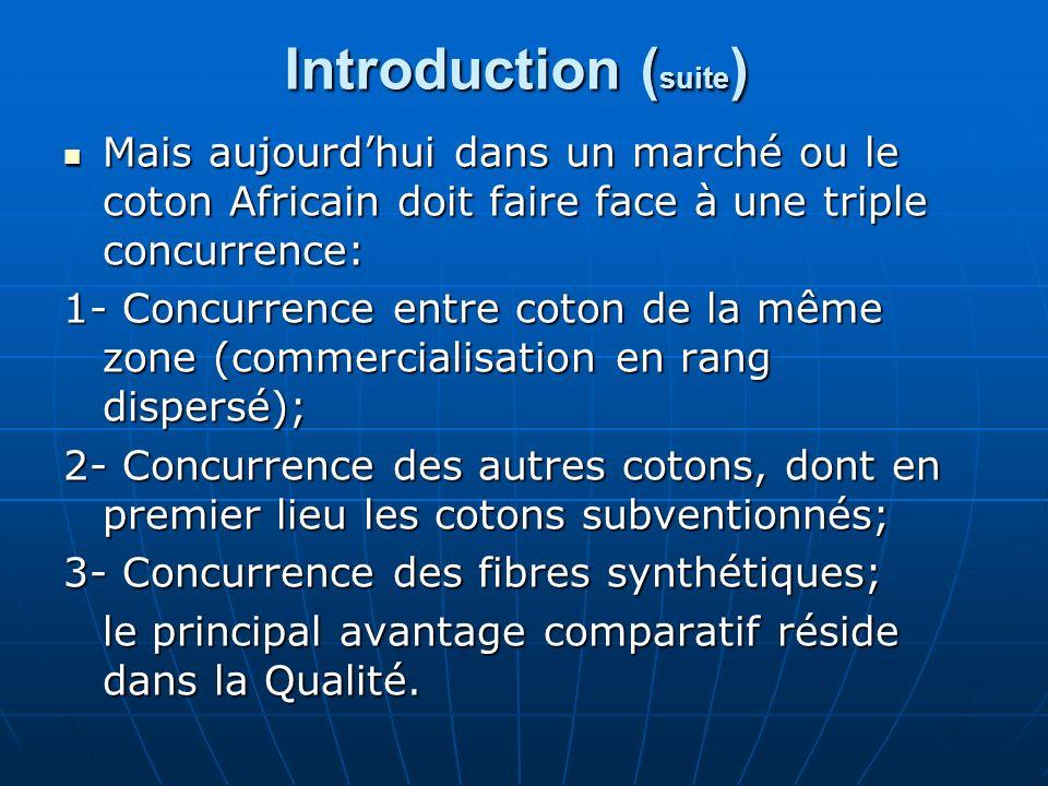 Introduction ( suite ) Mais aujourdhui dans un marché ou le coton Africain doit faire face à une triple concurrence: Mais aujourdhui dans un marché ou le coton Africain doit faire face à une triple concurrence: 1- Concurrence entre coton de la même zone (commercialisation en rang dispersé); 2- Concurrence des autres cotons, dont en premier lieu les cotons subventionnés; 3- Concurrence des fibres synthétiques; le principal avantage comparatif réside dans la Qualité.