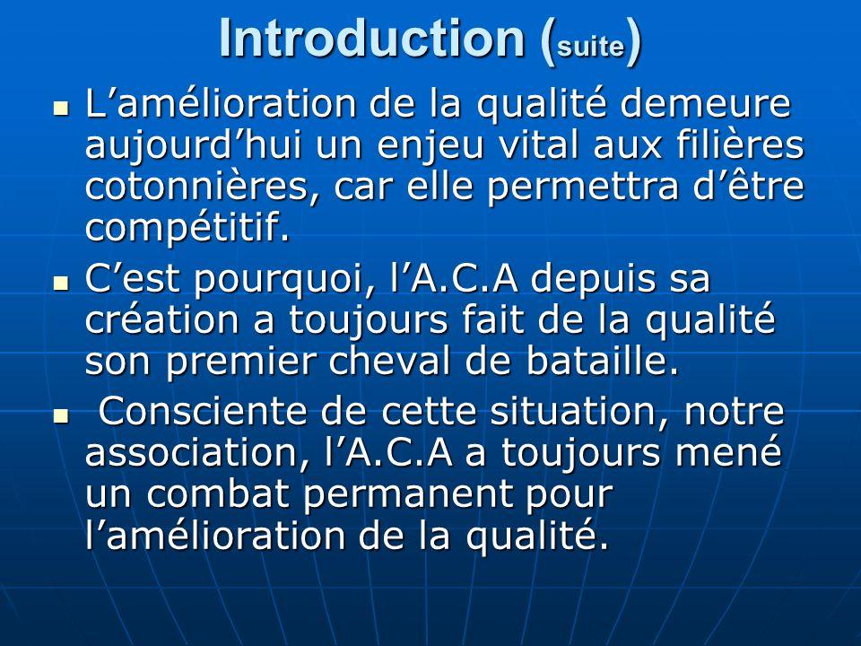 Introduction ( suite ) Lamélioration de la qualité demeure aujourdhui un enjeu vital aux filières cotonnières, car elle permettra dêtre compétitif.