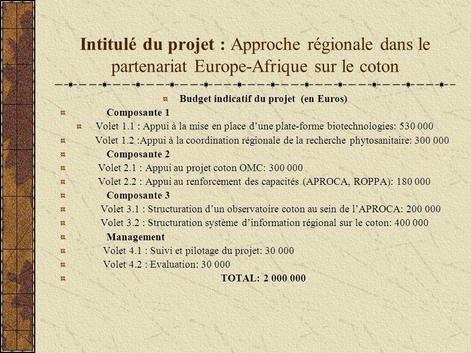 Intitulé du projet : Approche régionale dans le partenariat Europe-Afrique sur le coton Budget indicatif du projet (en Euros) Composante 1 Volet 1.1 : Appui à la mise en place dune plate-forme biotechnologies: 530 000 Volet 1.2 :Appui à la coordination régionale de la recherche phytosanitaire: 300 000 Composante 2 Volet 2.1 : Appui au projet coton OMC: 300 000 Volet 2.2 : Appui au renforcement des capacités (APROCA, ROPPA): 180 000 Composante 3 Volet 3.1 : Structuration dun observatoire coton au sein de lAPROCA: 200 000 Volet 3.2 : Structuration système dinformation régional sur le coton: 400 000 Management Volet 4.1 : Suivi et pilotage du projet: 30 000 Volet 4.2 : Evaluation: 30 000 TOTAL: 2 000 000