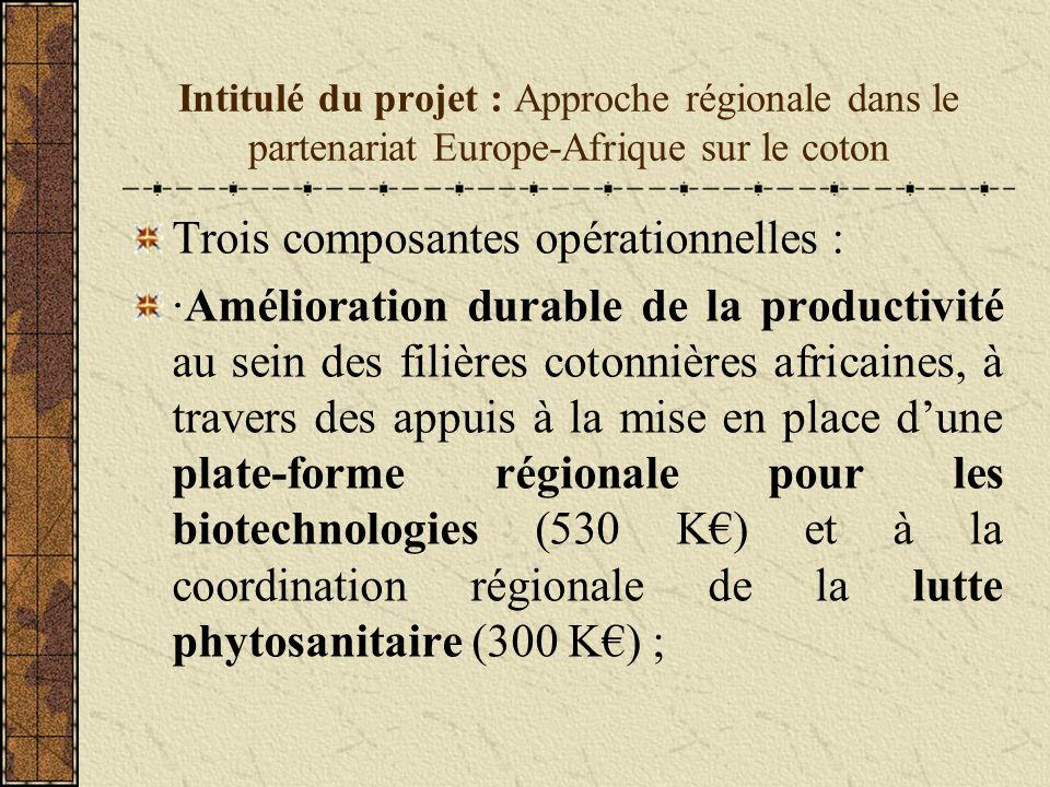 Intitulé du projet : Approche régionale dans le partenariat Europe-Afrique sur le coton Trois composantes opérationnelles : ·Amélioration durable de la productivité au sein des filières cotonnières africaines, à travers des appuis à la mise en place dune plate-forme régionale pour les biotechnologies (530 K) et à la coordination régionale de la lutte phytosanitaire (300 K) ;