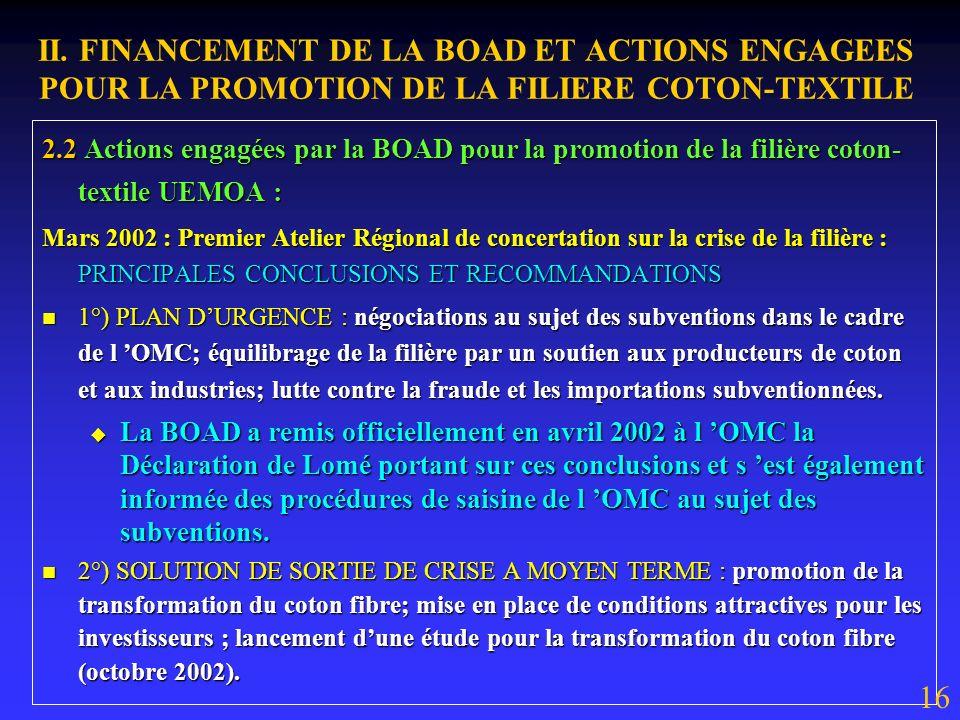 II. FINANCEMENT DE LA BOAD ET ACTIONS ENGAGEES POUR LA PROMOTION DE LA FILIERE COTON-TEXTILE 2.1 Projets financés par la BOAD dans la filière coton-te